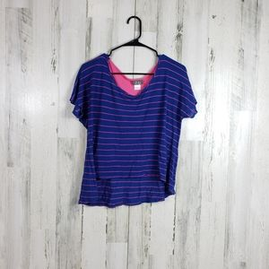 5/$25 Dots blue pink summer top size large